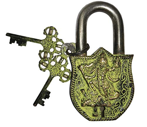 - Laxman Art Goddess Kali Design Brass Lock Padlock, Handmade Antique Design, Unique Collectible Combination of Style & Security with 2 Keys