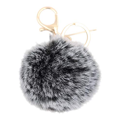 (REAL SIC Pom Pom Keychain - Faux Fur Fluffy Charm For Women & Girls. Fake Rabbit Key Ring for Backpacks, Purses, Bags or Gifts (Charcoal))