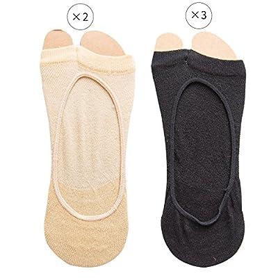 Maivasyy 5 paires de bouche Poisson d'été femme coton mince antidérapant en Silicone Toe exposés deux doigts invisibles Chaussettes Bateau bas, teint noir 3 2