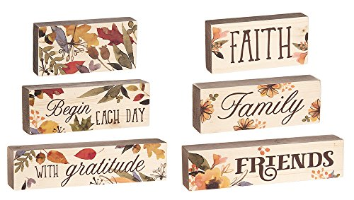6 Pc Set Blessed Beyond Measure Faith Family Friends Harvest Stacking Blocks Décor