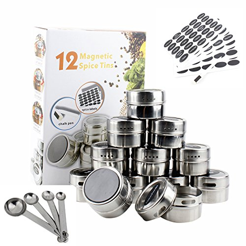 RSK Magnetic Spice Organizer Tins 12 piece set with Spice Labels, Blank Labels, Chalk Marking Pen & 4 Pc. Measuring Spoons 3 oz. Spice Tins
