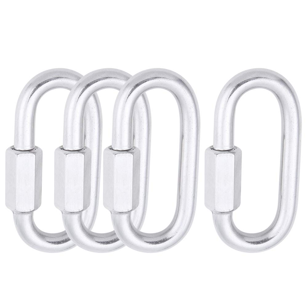 AOWISH 4-Pack Stainless Steel SS Oval Locking Carabiner 5/16''(8 mm) Heavy Duty Durable Quick Link Chain Rope Connector Keychain Ring Buckle - 1,525 LBS W.L.L (Silver/M8)