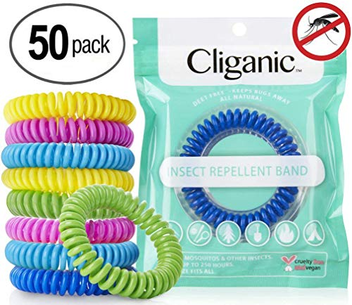 Cliganic 50 Pack Mosquito Repellent Bracelets, 100% Natural | Bug & Insect Protection, Waterproof...