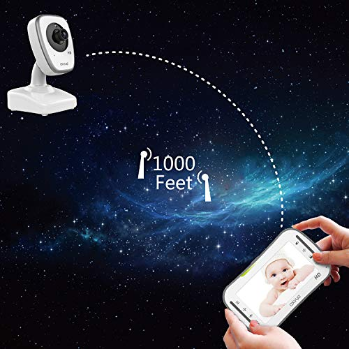 """[HD] Video Baby Monitor, AXVUE 720P 5"""" HD Display, IPS Screen, 2 HD Cams, 12-Hours Battery Life, 1000ft Range, 2-Way Communication, Secure Privacy Wireless Technology"""