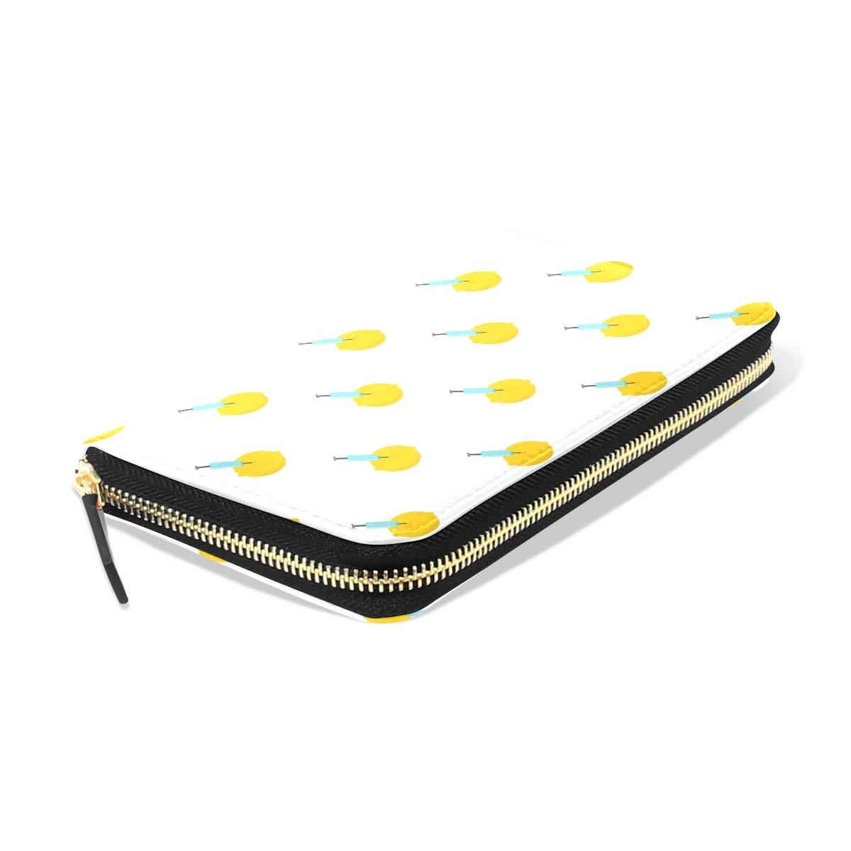 Women Injection Of Yellow Lemon Leather Wallet Large Capacity Zipper Travel Wristlet Bags Clutch Cellphone Bag