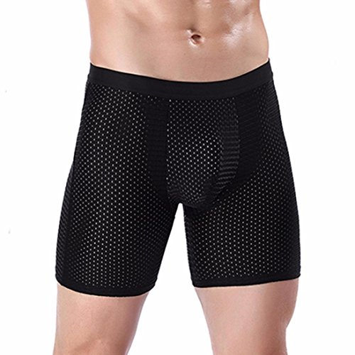 Price comparison product image Goddessvan Men's Sports Underpants Ice Silk Boxer Underwear, Anti Grinding Leg / Lengthen (L,  Black)