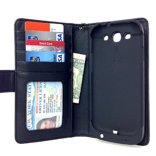 Navor Folio Wallet Leather Case Samsung Galaxy S3 Power Battery Case 2600mAH - Black