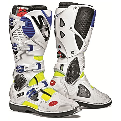 Sidi Crossfire 3 TA Off Road Motorcycle Boots Flo Yellow/White/Blue US10/EU44 (More Size Options)