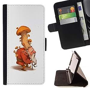 Momo Phone Case / Flip Funda de Cuero Case Cover - Mushroom gnomo enano hada del bosque Naturaleza - LG G2 D800