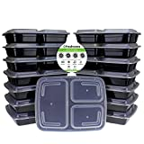 Image of Freshware 15-Pack 3 Compartment Bento Lunch Boxes with Lids - Stackable, Reusable, Microwave, Dishwasher & Freezer Safe - Meal Prep, Portion Control, 21 Day Fix & Food Storage Containers (32oz)