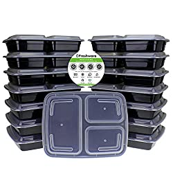 Freshware Meal Prep Containers [15 Pack] 3 Compartment With Lids, Food Containers, Lunch Box | Bpa Free | Stackable | Bento Box, Microwavedishwasherfreezer Safe, Portion Control, 21 Day Fix (32 Oz)