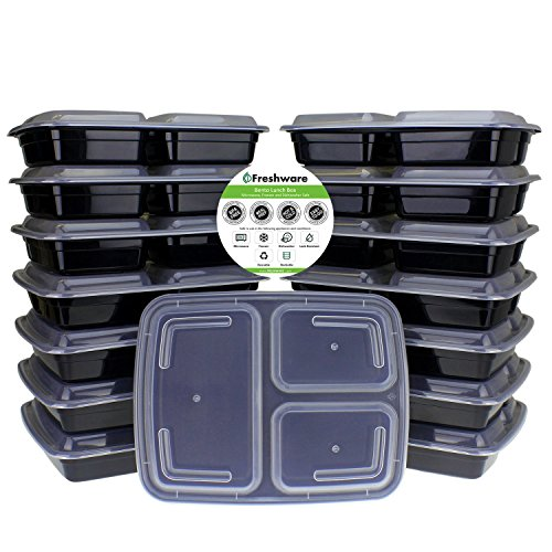 Freshware Meal Prep Containers [15 Pack] 3 Compartment with Lids, Food Containers, Lunch Box | BPA Free | Stackable | Bento Box, Microwave/Dishwasher/Freezer Safe, Portion Control, 21 day fix (32 oz) ()