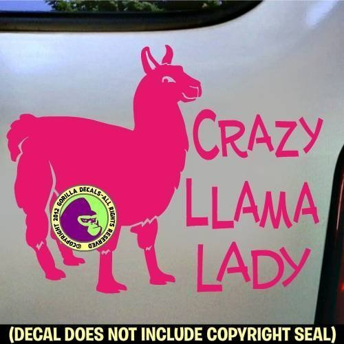 CRAZY LLAMA LADY #2 Full Body Vinyl Decal Sticker B