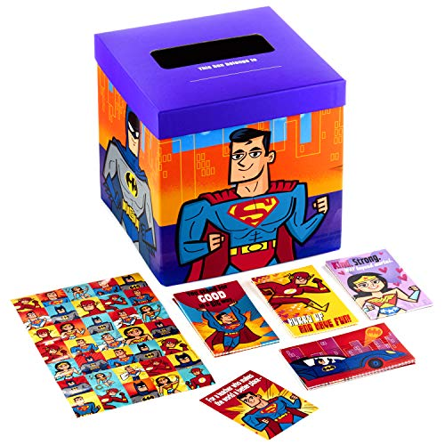 Hallmark Valentines Day Cards for Kids and Mailbox for Classroom Exchange, Justice League (1 Box, 32 Valentine Cards, 35 Stickers, 1 Teacher Card)