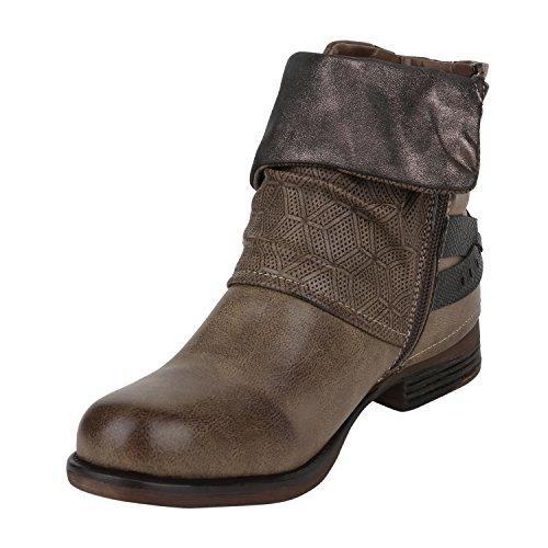 Stiefelparadies Gefütterte Damen Biker Boots Nieten Schnallen Stiefeletten Gr. 36-42 Flandell Khaki