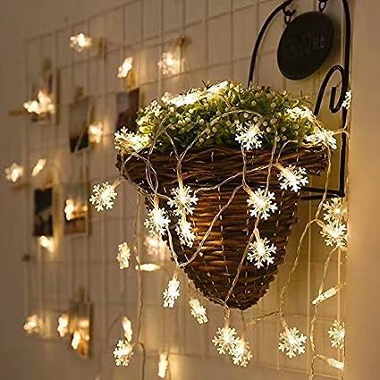 Amazon Com Bymlt Snowflake String Lights 20 Ft 40 Lights Battery