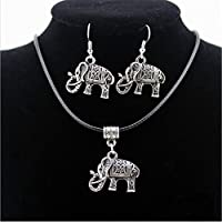 Tibet Silver Chinese Style Elephant Pendant Necklace Earring Hook Jewellery Set