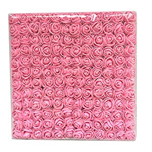Charmly Mini Fake Rose Flower Heads 144pcs Little Artificial Roses DIY Flowers Accessories Home Wedding Party Craft Art Decor Bottom add Gauze Pink 18