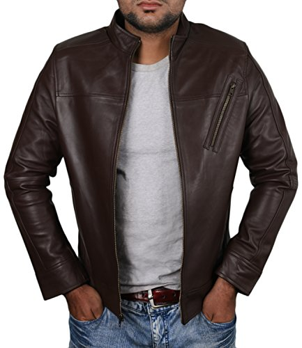 Laverapelle Men's Brown Genuine Lambskin Leather Jacket -1510210 - Large (Brown Cowhide Nappa Leather)