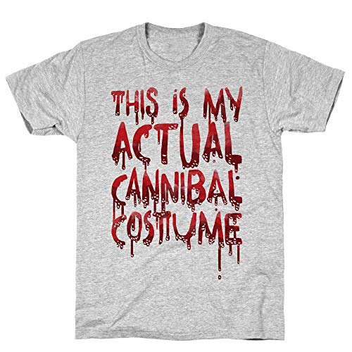 LookHUMAN This is My Actual Cannibal Costume Large Athletic Gray Men's Cotton Tee -