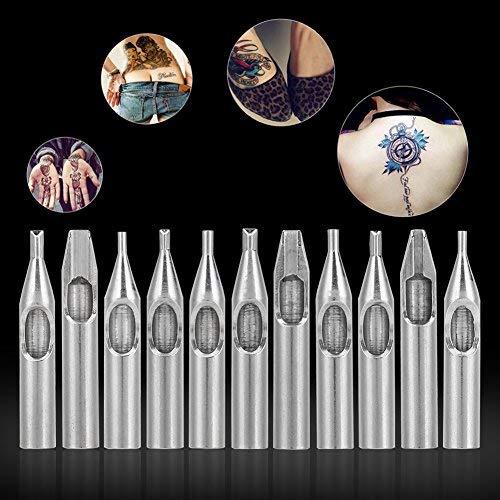 Yotown 11Pcs/Set 304 Tattoo Nozzle Tips - Stainless Steel Assorted Needles Kit 11 Sizes