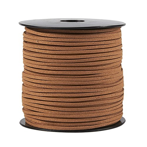 - Faux Leather Cord - 100-Yard Suede Leather Strap Beading Cord, Flat Leather Lace Spool, Caramel, 0.08 Inches Wide