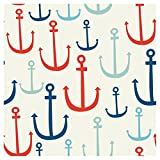 Creative Converting Elise 72 Count 3 Ply Seafarer Anchors Beverage Napkins, Red/Blue (Value 3-Pack)