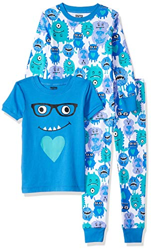 Amazon Brand - Spotted Zebra Little Kid 3-Piece Snug-Fit Cotton Pajama Set, Monsters, Small (6-7)