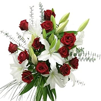 Amazon red roses and white lilies bouquet fresh cut format red roses and white lilies bouquet mightylinksfo