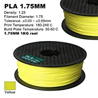 Century 3D PLA Printer Filament 1.75mm 1kg spool 2.2 pounds Dimensional Accuracy +/- 0.05 mm (Fluorescent Yellow) by Century Products