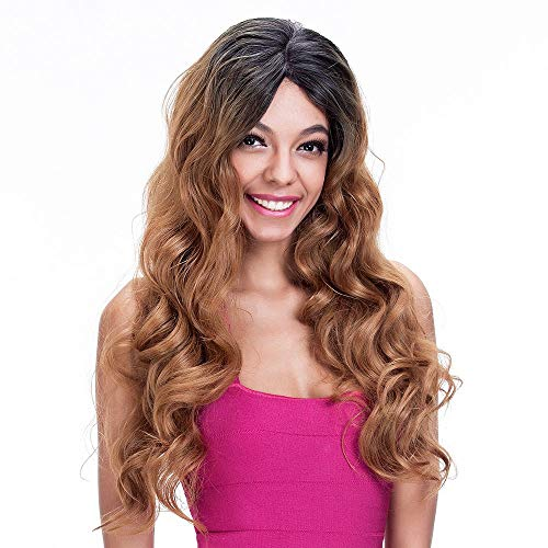 Lulala Too Ombre Brown Synthetic Lace Front Wigs For Women Natural Looking Long Wavy Ombre 2 Tone Color Dark Roots Middle Part Wig Glueless Half Hand Tied Heat Resistant Replacement Wig 26 Inch ()