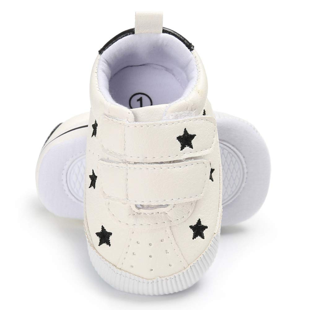 Alamana Fashion Stars Heart Magic Tape Infant Baby Soft Sole Prewalker Toddler Shoes Pink-Stars 13cm