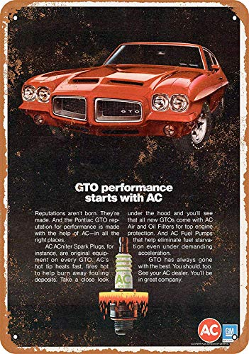- Pontiac GTO and AC Spark Plugs Tin Wall Sign Funny Iron Painting Vintage Metal Plaque Decoration Warning Sign Hanging Artwork Poster for Bar Café Park