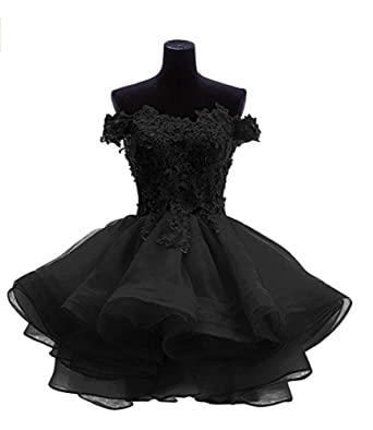 6676633c15b0 ANGELA Women s Off The Shoulder Organza Short Prom Homecoming Dresses Black  0
