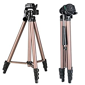 Camera Tripod OWIKAR Portable Adjustable Mini Travel Tripod 360 Degree For Canon Nikon Sony DSLR Camcorder Camera Champagne Brown Aluminum Alloy 50 Inch 4 Section with Rocker Arm