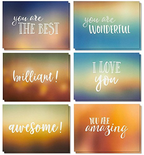 - 36 Pack Motivational Encouragement Greeting Cards, 6 Handwritten Modern Artistic Style Colorful Designs, Bulk Box Set Variety Assortment, Envelopes Included 5 x 7 inches
