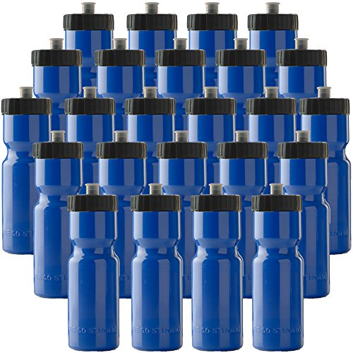 Sports Squeeze Water Bottle Bulk Pack - 24 Bottles - 22 oz. BPA Free Easy Open Push/Pull Cap - Made in USA - Great for Adults & Kids - Top Rack Dishwasher Safe - Fits in Bike Cage