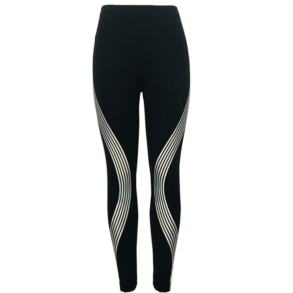 wodceeke Gym Print Pants, Women Laser Stripe Dance Sports Fitness Yoga Pants Workout Trouser Athletic Pants (S, Black)