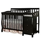 Black Mini Crib with Changing Table Dream On Me Jayden 4 in 1 Convertible Portable MiniCrib with Changer, Black