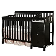 Dream On Me Jayden 4-in-1 Mini Convertible Crib And Changer, Black