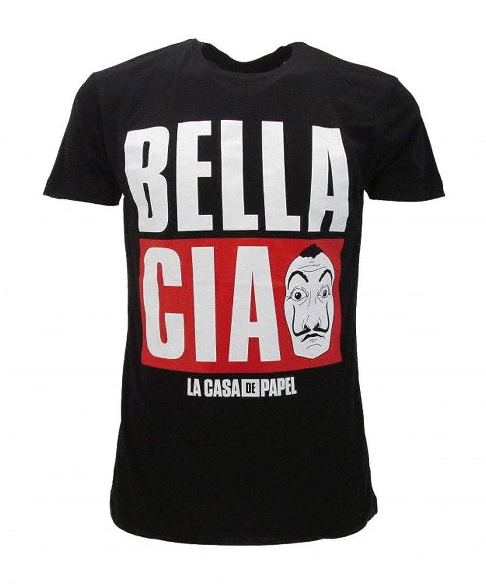 Casa de Papel Casa di Carta Tshirt Nera Stampa Frontale Bella Ciao Prodotto Ufficiale 100/% Originale Netflix Serie TV Maglia Maglietta