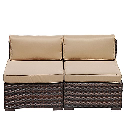 Super Patio 2 Piece Armless Chair Outdoor Furniture All Weather PE Wicker Sofa Chair Love Seat Beige Cushions, Steel Frame, Brown
