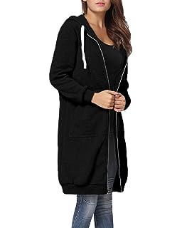Doreen Women s Casual Zip Up Hoodie Solid Pockets Tunic Sweatshirt ... 19ea35f56b