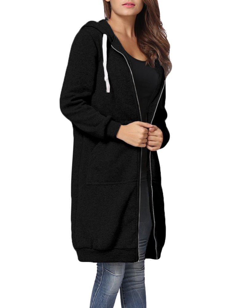 Romacci Women's Casual Zip up Hoodies Pockets Tunic Sweatshirt Long Hoodie Outerwear Jacket Plus Size