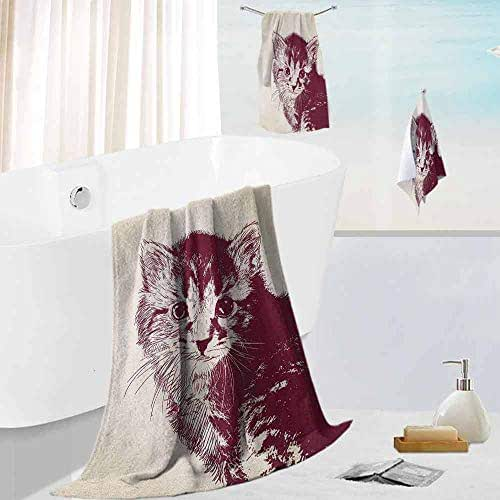 Leigh R. Avans Cat,3 Piece Bathroom Towel Set Grunge Style Illustration of a Baby Little Innocent Kitty on a Vintage Background Soft, Absorbent and Durable, Maroon Cream