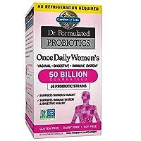 Garden of Life Dr. Formulated Una vez al día Estante de las mujeres Probióticos 16 cepas, 50 mil millones de CFU potencia garantizada hasta la caducidad, productos lácteos sin gluten y soja una por día, fibra prebiótica, 30 cápsulas