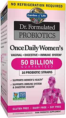 Garden of Life Dr. Formulated Once Daily Women's Shelf Stable Probiotics  16 Strains, 50 Billion CFU Guaranteed Potency to Expiration, Gluten Dairy & Soy Free One a Day, Prebiotic Fiber, 30 Capsules