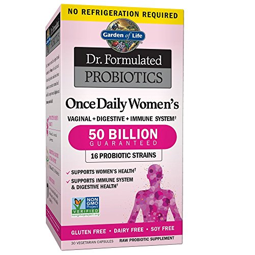 Garden of Life Dr. Formulated Once Daily Women's Probiotics 50 Billion CFU, 30 Shelf Stable Capsules, Gluten Dairy & Soy Free One a Day Prebiotic Fiber Digestion Support Supplement, No - Acidophilus Tract Urinary