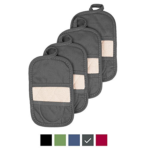 Ritz Royale Collection 100% Cotton Terry Cloth Ritz Mitz, Dual-Function Pot Holder / Oven Mitt Set, 4-Pack, Graphite by Ritz (Image #2)