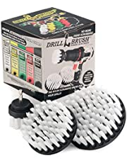 New Quick Change Shaft 3 Pack Soft White Drill Brush Carpet, Upholstery, and Leather Scrub Brushes by Drillbrush